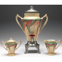 Fraunfelter/Royal Rochester coffee service, Modernistic pattern, percolator, creamer and sugar
