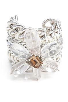 Bianca Cuff - Brazilian Rock crystal flower bracelet <3 <3 <3 http://www.pranella.com/product/bianca_cuff/ wedding jewellery