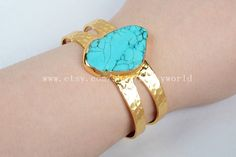Cuff Gold Plated Blue Howlite Turquoise Bangle by Druzyworld
