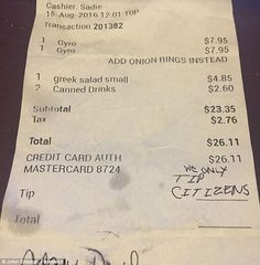Hateful: Waitress Sadie Karina was left this hateful message instead of a tip after serving a pair of customers Monday. She was born in the US and has Mexican and Honduran heritage