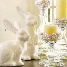 give easter decor an elegant twist.. use all white, crystal or clear glass... and limit the brights...