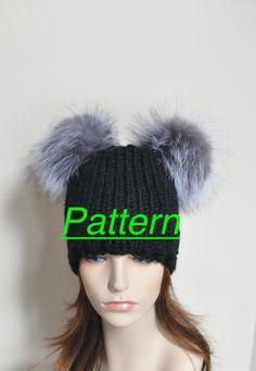 03fc8a8fbf0 Pompom Beanie Fur Hat PDF PATTERN DIY Hand Knit Winter Adult Teen Black  Chunky Hat Pattern