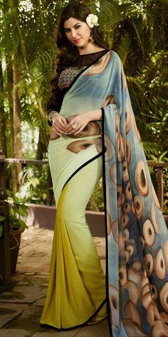 Precious Yellow And Multi-Color Georgette Saree.