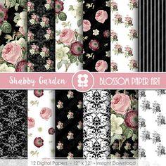Floral Digital Paper, Roses Digital Paper Pack, Pink Back Wedding, Scrapbooking, Roses, Pink, Black - INSTANT DOWNLOAD 2014