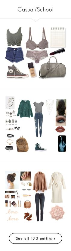 """""""Casual/School"""" by circe-1emon ❤ liked on Polyvore featuring Jag, Converse, Charlotte Russe, Emporio Armani, Polo Ralph Lauren, Laura Mercier, River Island, Essentiel, Relic and ASOS"""