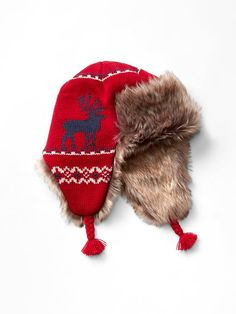 Intarsia deer fair isle trapper hat Product Image