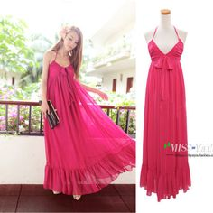 Low chest sexy v-neck bowknots high waist maxi dress - US$ 43.77