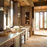 raw/refurb looking wood above sink/vanity area