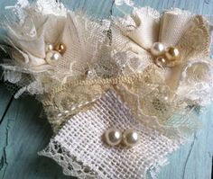 Linen and Lace Wedding Decorations - Linen Flowers - Vintage Inspired - Handmade Wedding Flowers