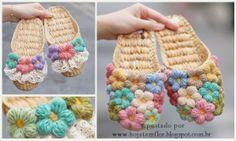 "el işi "" See my pin \""Diagram for Flower Slippers\"" for chart"", ""Little Treasures: 7 Free Fantastic Crochet Slipper Patterns"", ""Sooo Love these slipp Easy Crochet Slippers, Crochet Slipper Pattern, Crochet Boots, Love Crochet, Crochet Clothes, Crochet Flowers, Knit Crochet, Crochet House, Yarn Crafts"