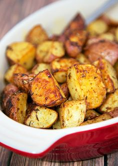 Savory Roasted Red Potatoes Recipe - red potatoes tossed in oil, rosemary, Worcestershire, garlic, paprika and baked. Seriously delicious. Great with chicken, beef and pork. We like them with a juicy burger instead of fries. We make these potatoes at least once a week!