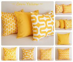 Yellow pillow cover 16 x 16 One cushion cover by ThePillowPeople, $16.00