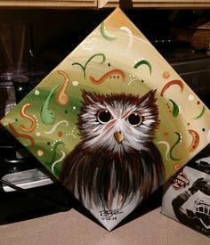 12x12 owl abstract acrylic