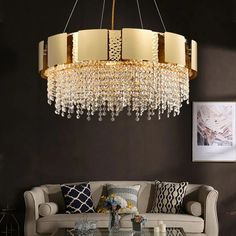 Luxury crystal chandelier designer simple round gold modern living room dining room chandelier | thefashionique Chandelier In Living Room, Ceiling Chandelier, Gold Chandelier, Ceiling Lights, E14 Led, Art Deco Lighting, Industrial Style, Vintage Industrial, Room Lights