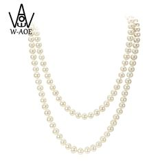 39977933743f 2017 New Design Simulated Round Pearl Jewelry Multilayer Beaded Long  Necklace For Women Accessories Baroque Pearl