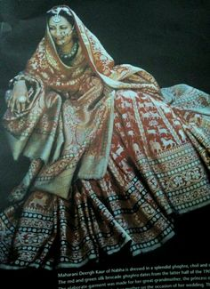 Maharani Deergh Kaur of Nabha in her Shikargah Banarasi Ghagra Choli and Odhna reclaimed from her great grandmother Indian Bridal Outfits, Indian Bridal Fashion, Indian Designer Outfits, Indian Dresses, Royal Indian, Bollywood Outfits, Indian Attire, Indian Wear, Royal Clothing