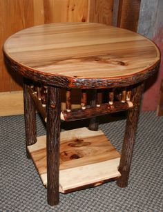 HICKORY LOG Side TABLE Old Fashioned by BarnWoodFurniture72, $395.00