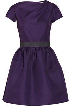 Belted silk-gazaar dress