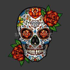 Sugar Skull, Day Of The Dead Art Print by Folknfunky - X-Small Mexican Skull Tattoos, Sugar Skull Tattoos, Mexican Skulls, Mexican Men, Los Muertos Tattoo, Sugar Skull Artwork, Totenkopf Tattoos, Day Of The Dead Skull, Day Of The Dead Tattoo For Women
