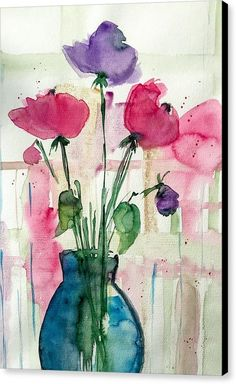 Bouquet Canvas Print featuring the painting Bouquet 7 by Britta Zehm