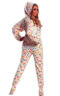 Frosty Dots - Drop Seat Hoodie - Pajamas Footie PJs Onesies One Piece Adult Pajamas - JumpinJammerz.com