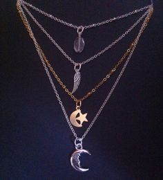 Stevie Nicks Gypsy  Moon Necklace~ Crescent Moon and Star ~ Crystal Vision ~ Wing ~ Moon of My Life Necklace ~Boho Style