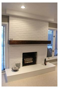 30 Stunning White Brick Fireplace Ideas (Part Try one of these 30 stunning white fireplace ideas for your indoor or outdoor living spaces! DIY Tutorials to help you through the process. Basement Fireplace, Fireplace Update, Brick Fireplace Makeover, Fireplace Design, Fireplace Ideas, Fireplace Mantles, Brick Fireplace Remodel, Mid Century Modern Fireplace Makeover, Midcentury Modern Fireplace