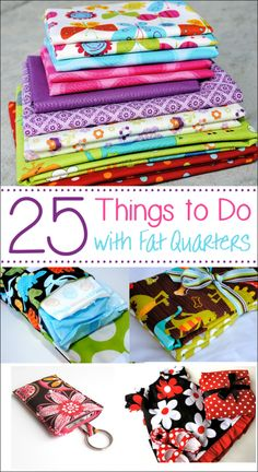 If you love sewing and want to use up some of your smaller pieces of fabric, these projects made with fat quarters are a perfect project for you. Try these 25 fun things to do with fat quarters that are quick and easy and fun to sew! Easy Sewing Projects, Sewing Projects For Beginners, Sewing Hacks, Sewing Tutorials, Sewing Crafts, Craft Projects, Sewing Tips, Sewing Ideas, Scrap Fabric Projects
