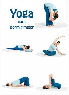 Tabla de ejercicios de yoga para conseguir un descanso más eficaz. Gracias a los estiramientos nuestro cuerpo se encuentra más relajado.