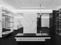 Bien qu& n& ait pas encore de marchandise dans cet espace, il a une bonne . Store Concept, Saint Laurent Store, Paris Store, Hotel Concept, Minimal Decor, Store Windows, Retail Interior, Retail Space, Retail Design