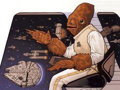Admiral Ackbar and the Millennium Falcon Star Wars Comics, Star Wars Art, Bodhi Rook, Grand Admiral Thrawn, Rebel Alliance, Original Trilogy, Army & Navy, Geek Humor, Comic Styles