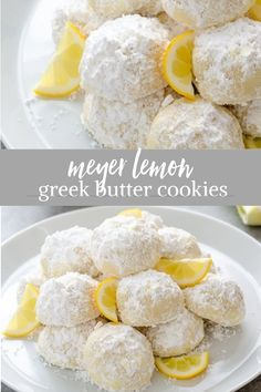 Meyer Lemon Greek Butter Cookies {Kourabiedes} - Flavor the Moments Meyer Lemon Greek Butter Cookies are easy, classic Greek kourabiedes with a refreshing citrus twist. They're perfect for your holiday baking! Meyer Lemon Recipes, Lemon Desserts, Lemon Recipes Easy, Lemon Ideas, Greek Cookies, Yummy Cookies, Lemon Cookies Easy, Holiday Baking, Christmas Baking