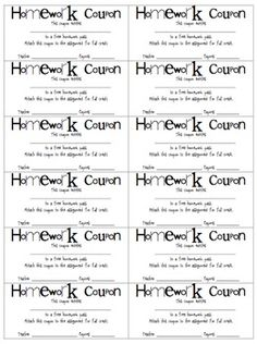 FREE! A sheet of 12 homework passes/coupons with a space for you to write in the teacher's name and expiration date.