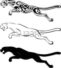 panthere: Silhouette et tatouage tribal jaguar