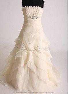 Gorgeous Charming Organza Satin A-line Strapless Wedding dress