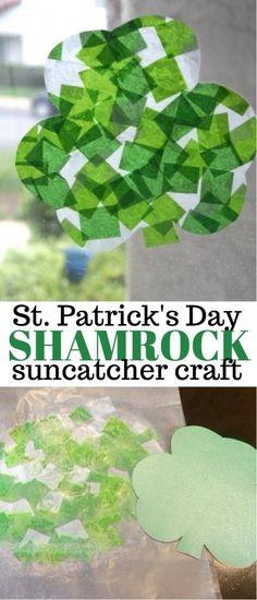 St Patricks Day Craft - Shamrock Stained Glass Art Suncatcher with Tissue Paper   shamrock crafts   shamrock suncatcher   shamrock crafts for kids   st patty's day crafts   honeyandlime.co
