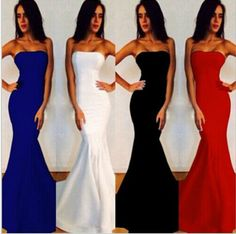 Strapless Bodycon Mermaid Dress in Red, White, Blue and Black