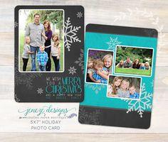 Holiday Photo Card  Merry and Joyous Christmas Card by Jeneze