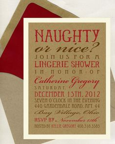Naughty or Nice bridal shower invitation