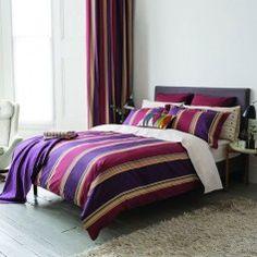 Striped Copper & Aubergine Bedding