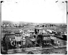 View of Denver looking east from Gilpin School, circa 1880  Photograph taken from the top of the Gilpin School, 29th & Stout St., Denver, Colorado in the Five Points neighborhood.