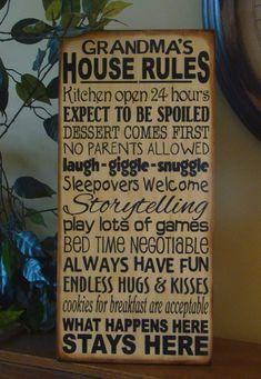 Grandma's/Nana's/Grandparents' House Rules Wooden by kshopa