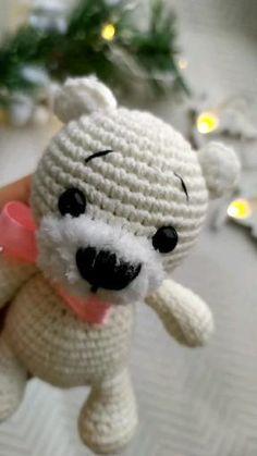 Crochet Patterns For Beginners, Crochet Patterns Amigurumi, Crochet Ideas, Crochet Teddy Bear Pattern, Crochet Baby, Mini Teddy Bears, Small Animals, Hello Dear, Amigurumi Toys