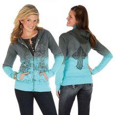 Wrangler Rock 47 Grey and Turquoise Zip Up