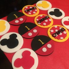 Mickey Mouse theme 1st birthday fondant cupcake toppers.