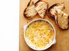 Baked Ricotta with Lemon and Herbs Recipe : Food Network Kitchen : Food Network Baked Ricotta, Baked Goat Cheese, Ricotta Dip, Ricotta Dessert, Appetizer Recipes, Snack Recipes, Appetizers, Cooking Recipes, Appetizer Ideas