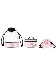 "VS Stripe Bag Trio$36 Includes 3 separate bags: Clear drawstring bag: 6 1/4""L x 6 1/4""W x 9 1/2H"" Travel case: 5 1/2""L x 4""W x 3H"" Drawstring pouch: 4""L x 5""W x 4¼H"" Imported printed satin/PVC"