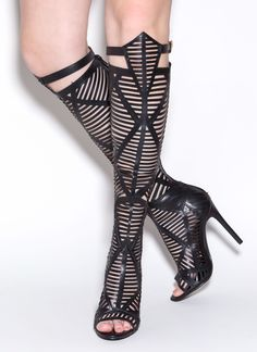 Shape Play Slit Cut-Out Boots GoJane.com High Heel Sneakers, Sneaker Heels, High Heel Boots, Heeled Boots, Bootie Boots, Lace Up High Heels, Black High Heels, Dream Shoes, Crazy Shoes
