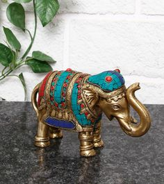 Multicoloured Embellished Elephant Statue