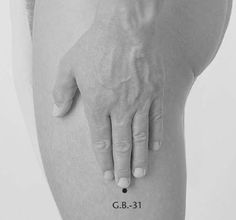 Stimulating this point on both thighs can help in balancing leg qi and relieve hip pain caused by sciatica and weakness and numbness of the hips.